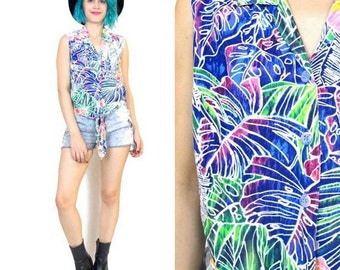 90s Jams World Hawaiian Sleeveless Shirt Colorful Tie Hem Blouse Tropical Floral Summer Tank Top (M/L)