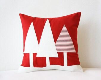 Winter Trees Pillow Vs2 - Red