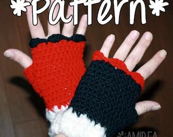INSTANT DOWNLOAD -- Harley Quinn Fingerless Gloves - Crochet Pattern