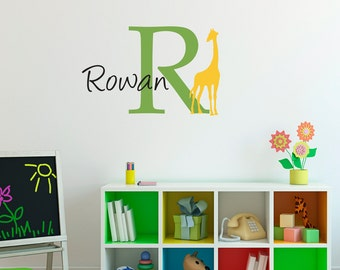 Giraffe Wall Decal with Initial & Name - Custom Name Decal - Giraffe Wall Sticker - Medium 2