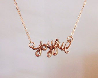 Joyful Necklace (Bronze Cursive Script Pendant)
