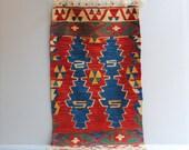 Vintage Konya Kilim Throw Rug or Wall Hanging  /  3.5' x 2'