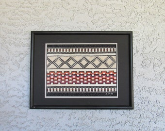 Vintage Tribal Design Finished Cross Stitch Needlepoint