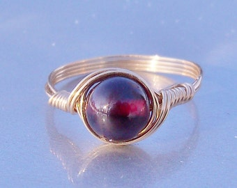 Garnet Gemstone Ring, 14k Yellow Gold Fill Wire Wrapped Ring, January Birthstone Ring