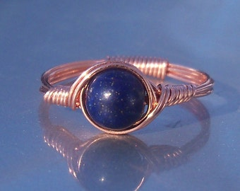 25% Off Sale Lapis Lazuli and Copper Wire Wrapped Ring