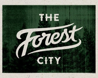 "The Forest City - Cleveland, Ohio Print - 12"" x 9"" French Speckletone Madero Beach, Vintage Inspired"