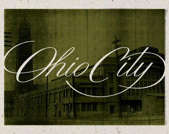 "Ohio City - Cleveland, Ohio Print - 12"" x 9"" French Speckletone Madero Beach, Vintage Inspired"