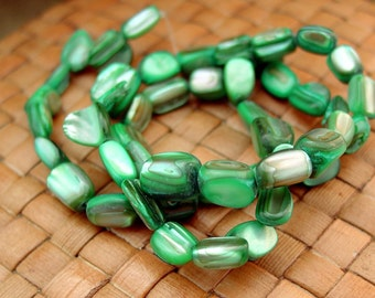 SALE:  15 inch strand Mother of Pearl Smooth Pebble Beads, Green - 75% Off