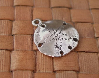 1 pc 16x19mm Sand Dollar Charms, Sterling Silver