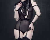 Black lace cabaret mesh plunge neck body suit