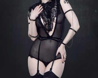 Black lace cabaret mesh plunge neck body suit