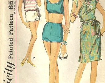 Simplicity 4995 / Vintage 60s Sewing Pattern / Swimsuit Bathing Suit / Size 14 Bust 34