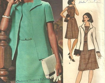 Vogue 1073 / Americana / Vintage Designer Sewing Pattern By Teal Traina / Dress And Jacket / Size 12 Bust 34