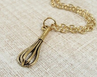 Whisk Necklace, Gold Plated Whisk Charm on a Gold Cable Chain