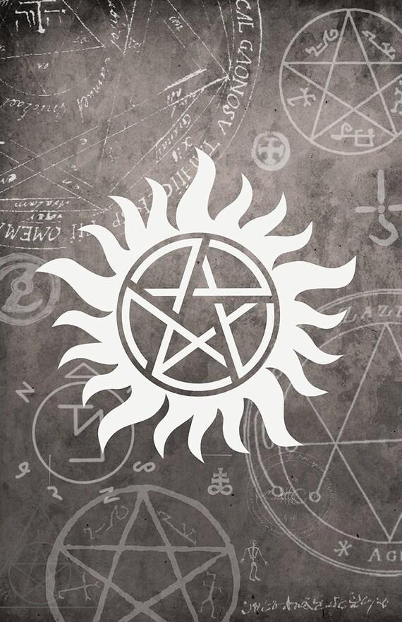 items similar to supernatural symbol poster