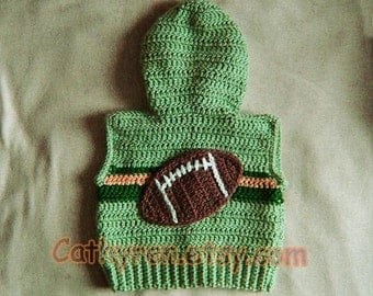Little Boy Sleeveless Sweater Hoodie with Football and Lucky Clover on the Back - INSTANT DOWNLOAD Crochet e-Pattern