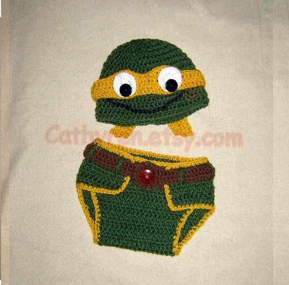 Crochet Pattern Ninja Turtle Hat : Baby NinJa Turtle Hat and Diaper Cover Set by CathyrenDesigns