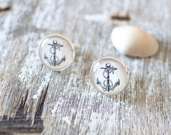 Vintage Anchor Cufflinks. Nautical Cufflinks. Sailing Cufflinks. Wedding Cufflinks. Nautical Wedding. Beach Wedding.