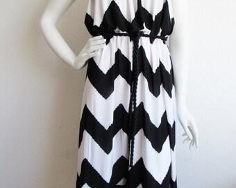 Black White Strapless Dress with Fringe