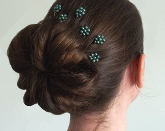 Teal Pearl Florettes - Set of 6 Bobby Pins