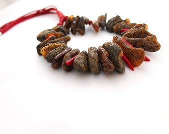 Amber Coral Necklace / Dark Raw Amber Natural / Red Coral Jewelry / Brown Earthy Colors / Gift for Her