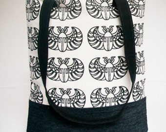 Black and White Screen Printed Fabric Tote Bag, Beetle Insect Theme, Original Fabric Shoulder Bag