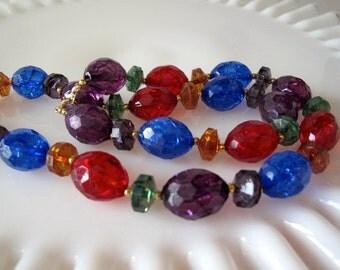 Lucite Bead Mid Century Necklace Jewel Tones Estate Jewelry