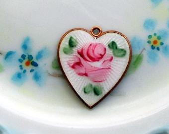 Vintage Sarah Coventry Pendant Guilloche Enamel Heart Cabochon Rose Signed NOS Vintagerosefindings #G23