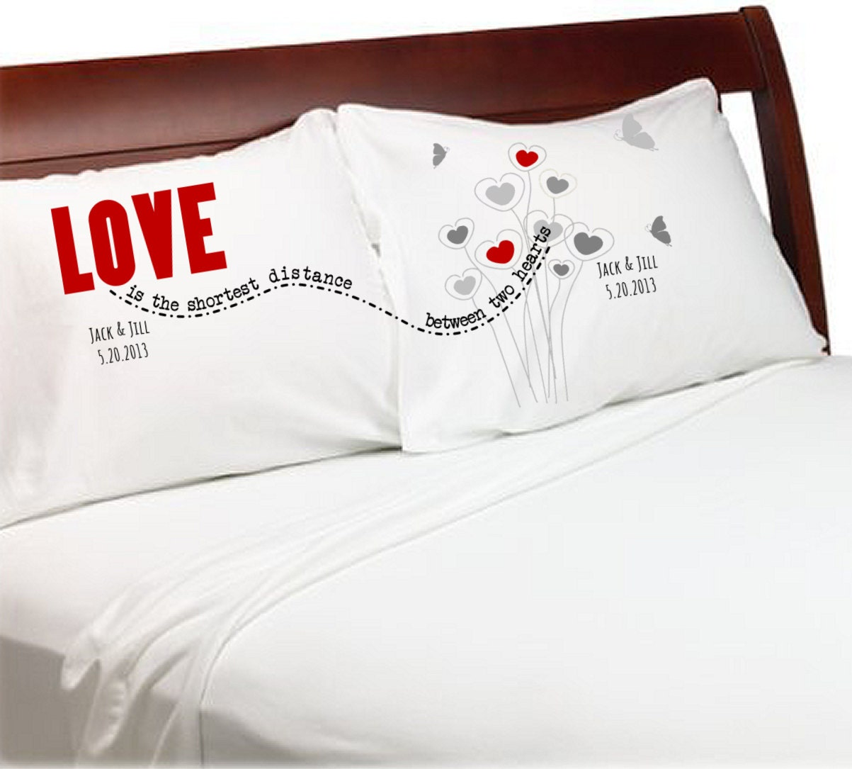 Long Distrance Relationship Pillow Cases Love Is The Shortest