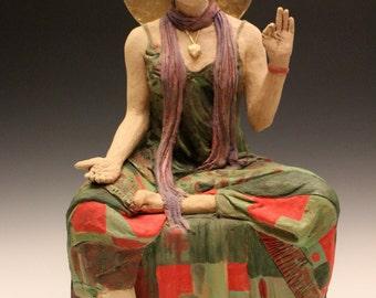 Lalitasana, Yoga Art Ceramic Figure Sculpture Portrait of a Yogini