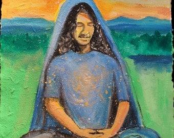 Meditation Painting, Original Acrylic Yoga Art on Handmade Paper, Green Landscape at Sunset, Heart of Golden Light, Half Lotus Posture