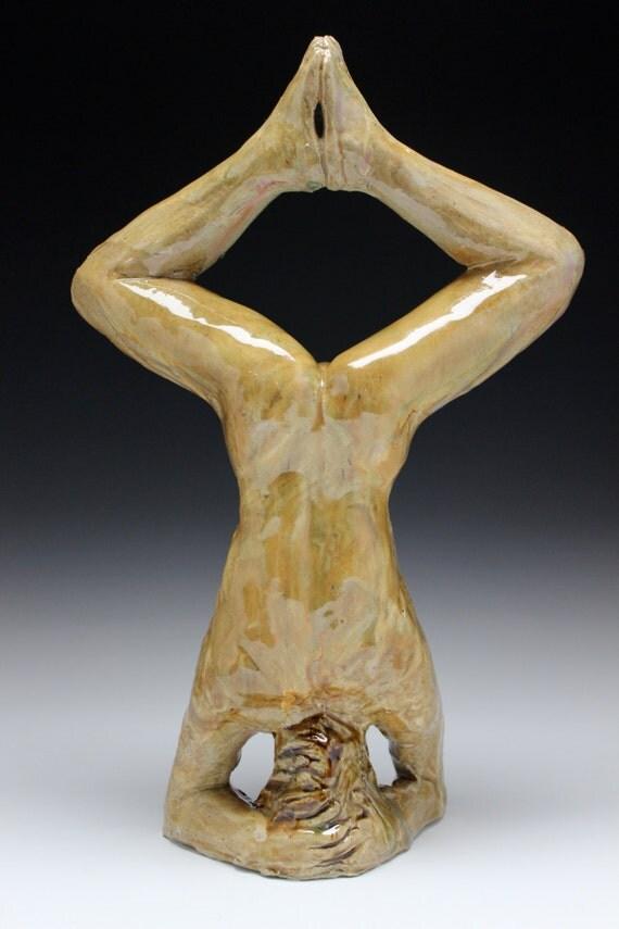 Yoga Art Headstand Sculpture Naked Man Sirshasana Mature Male Nude Figurine