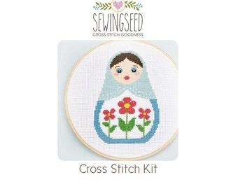 Russian Doll, Matryoshka DIY Cross Stitch Kit, Embroidery Kit, DIY kit