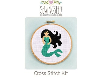 Mermaid Cross Stitch Kit, DIY Kit, Embroidery Kit, DIY Nursery Gift