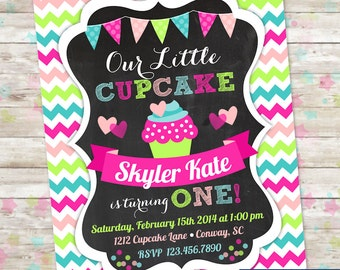 Our Little Cupcake Birthday Invitation Cupcake Invite with Chalkboard Chevron Printable Printed Digital