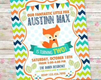 Little Fox Invite, Fox Birthday Invite, Boy Birthday Fox Invite, Fox Invitation, Digital Printable Invite, Fox Birthday Bash