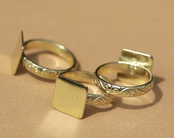 Brass Flourish Ring with Square Glue Pad Finding for Gluing - Size 6