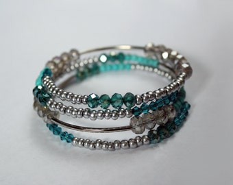 Silver, turquoise, blue stacked memory wire bracelet - faceted crystal and stone beads - sparkly