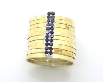Stacking gold & silver sapphires ring