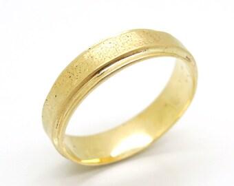 Gold wedding band for men and women, matte textured