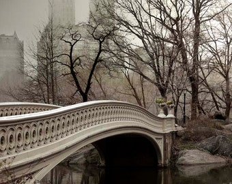 Central Park Print, Bow Bridge, Brown, Beige, Neutral, New York Photography Large Wall Art, NYC Art