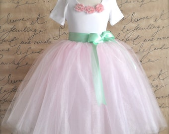Flower Girl long tutu skirt with ribbon sash waist. Pink tutu with your choice of sash color. Tutu for girls