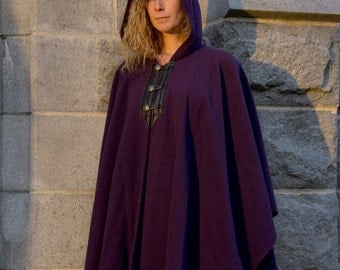 Purple Cape - Wool Cape -  Three Button Cape