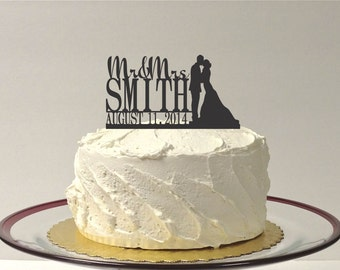 Wedding Cake Topper Mr and Mrs Silhouette Topper Custom Personalized with YOUR Last Name + Date