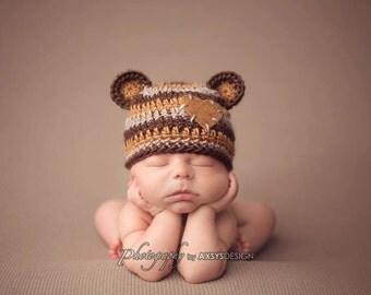 Crochet Baby Teddy Bear Beanie, Boy Girl Custom Made Hat, Handmade, Newborn, 0-3, 3-6 Months, Photo Prop, Photography Prop, Baby Shower Gift