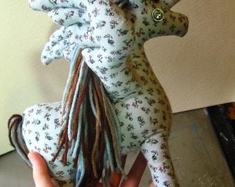 Folksy ALICORN WINGED UNICORN - Cute Animal Plushie Sewn by Hand in Folk Art Style, Pegaus, Unicorns, Horse, Horses, Equine, Equines