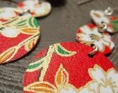 Red Cherry Blossom Triple Chandelier Earrings