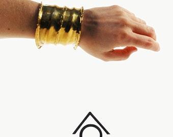 BRASS Extra Wide Cuff Bracelet - BRUTALIST Jewelry - Warrior Statement Bracelet - Vintage 70s