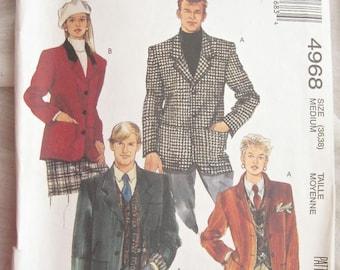 McCalls 4968 Lined Jacket Vintage Sewing Pattern Bust 36