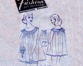 50s Babydoll Nightdress Pattern Fashion 4898 Vintage Sewing Pattern Bust 36 Inches UNUSED Factory Folded